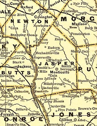 Jasper Georgia Map.Old Maps Of Georgia And Jasper County