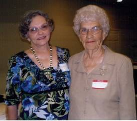 Margaret Harkins Patterson, author, and Roma Sue Turner Collins